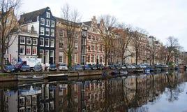 Амстердам, нидерландское †«4-ое декабря 2013 канал amsterdam Стоковое Изображение RF