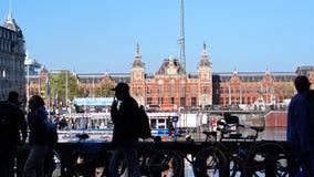 Амстердам, Нидерланды - 3-ье апреля 2017: Главный вокзал fr Амстердама Стоковое Фото