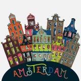 Амстердам Старые исторические здания и традиционная архитектура Нидерландов Стоковое Фото