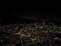 Амстердам увиденный от неба на ноче Стоковое Изображение