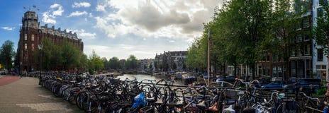 Амстердам Bicycles панорама Стоковое фото RF