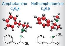 Амфетамин Amfetamine, C9H13N и кристалл метамфетамина я иллюстрация вектора