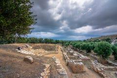 Амфитеатр на древнем городе Aptera, Chania, Крите стоковые изображения