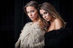 2 дамы в меховых шыбах Стоковые Фотографии RF