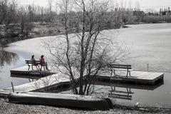 2 дамы сидя на стенде смотря озеро таять Стоковое Изображение