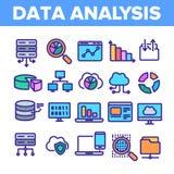 Анализ данных, набор значков вектора хранения сети линейный иллюстрация штока