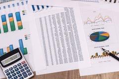 Анализ диаграмм и диаграмм финансового учета Стоковая Фотография