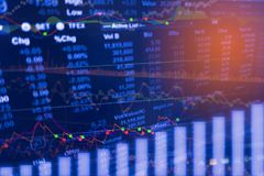 Анализ индикатора цифровых данных на диаграмме торговлей финансового рынка на СИД Торговля данным по запаса концепции стоковые изображения rf