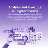 Анализ и инвестировать в Cryptocurrency Персона работая на секретном начинает вверх Технология Blockchain Компьтер-книжка соедине Стоковая Фотография