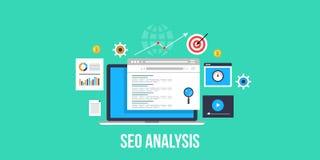 Анализ Seo - seo вебсайта - анализ вебсайта Плоское знамя seo дизайна Стоковая Фотография RF