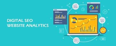 Аналитик маркетинга цифров - данные по seo вебсайта показывая на портативном компьютере Плоское знамя вектора дизайна иллюстрация вектора