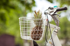 Ананас в зеленом цвете корзины велосипеда запачкал bokeh предпосылки Стоковые Фото