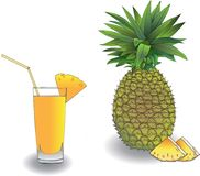 Ананас и свежий сок от ананаса стоковое фото