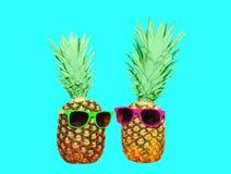 2 ананас и солнечные очки на голубой предпосылке, ананасе Стоковые Изображения RF