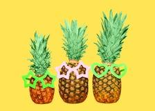 3 ананас и солнечные очки на желтой предпосылке, красочном ананасе Стоковое Изображение
