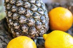 Ананас конца-вверх и плоды цитруса тропические на темном шаре блюда Подарок гостиничного номера радушный стоковые фотографии rf