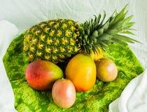 Ананас, манго, маракуйя и дыня kiwano на зеленой ткани стоковые изображения rf