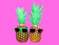Ананас моды 2 с солнечными очками на розовой предпосылке Стоковые Изображения RF