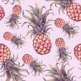 Ананас на розовой предпосылке Отметки чертежа цвета плодоовощ тропический картина безшовная Стоковое фото RF