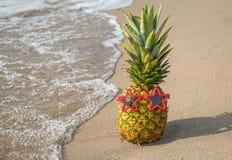 Ананас на seashore с солнечными очками Стоковая Фотография RF