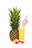 Ананас, стекло сока ананаса и части isolat плодоовощ Стоковые Фото