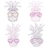 Ананас с стеклами тропическими, вектор, иллюстрация, дизайн, экзотический, еда, плодоовощ иллюстрация штока