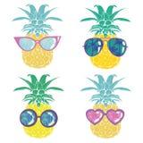Ананас с стеклами тропическими, вектор, иллюстрация, дизайн, экзотический, еда, плодоовощ иллюстрация вектора