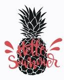 Ананас шаржа с летом надписи Красочная печать ананаса Изображение экзотического плодоовощ с снятием в аренду свеже иллюстрация вектора