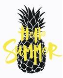 Ананас шаржа с летом надписи Красочная печать ананаса Изображение экзотического плодоовощ с снятием в аренду свеже иллюстрация штока