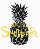 Ананас шаржа с летом надписи Красочная печать ананаса Изображение экзотического плодоовощ с снятием в аренду свеже бесплатная иллюстрация