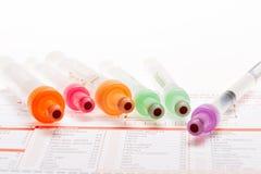 Анализ крови, пробы крови на форме лаборатории Стоковое Изображение RF