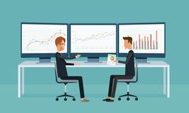 Аналитика диаграммы отчет о бизнесмены приборной панели монитора Стоковая Фотография RF