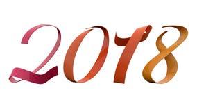 Аналогия 2018 чисел Нового Года красит 15 фиолетового градусов названия ленты оранжевого желтого цвета лоснистого металлического иллюстрация вектора