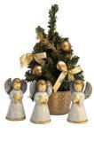 ангелы вокруг рождественской елки стоковые изображения