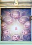 Ангелы, altarpiece в базилике священного сердца Иисуса в Загребе стоковое изображение