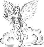 Ангел девушки аниме на облаке иллюстрация вектора
