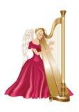 Ангел играя арфу Стоковые Изображения