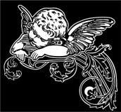 Ангел спать в орнаменте в форме гольца цветков иллюстрация вектора