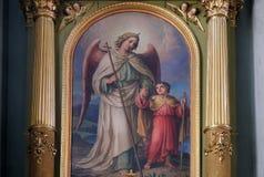 Ангел-хранитель, altarpiece в базилике священного сердца Иисуса в Загребе стоковое фото