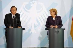 Ангела Меркель, Ban Ki-Moon Стоковые Изображения RF