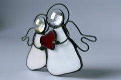 2 ангела с красным сердцем Стоковое Фото