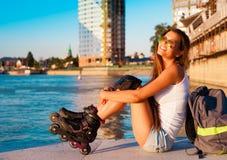ангела rollerblading город! Стоковые Фото
