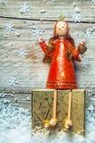 Ангел рождества милого ретро стиля деревянный Стоковое Изображение