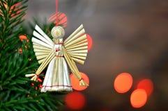 Ангел рождества, орнамент соломы Стоковое Изображение RF