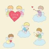 Ангелы в облаках иллюстрация вектора