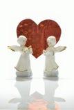 Ангелы и красное сердце Стоковая Фотография