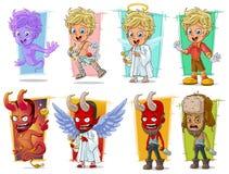 Ангелы купидона шаржа маленькие и злий красный комплект вектора характера демона Стоковые Изображения RF