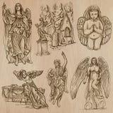 Ангелы - рука нарисованный пакет вектора Стоковая Фотография RF