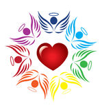 Ангелы сыгранности вокруг сердца Стоковые Изображения