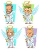 Ангелы шаржа с золотым комплектом вектора характера nimbus и арфы Стоковые Фотографии RF